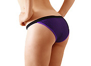 Fishnet Full Back Pole Dance Shorts PURPLE SMALL